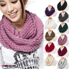 Fashion Hot Women Winter Warm Knitted Neck Circle Wool Cowl Snood Long Scarf Crochet Shawl Lady Scarves bandana with 11 Colors