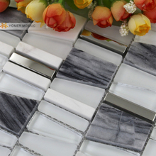 Mixed Glass, Natural Marble Stone and Metal Mosiac Tiles, Unique Design Wall Mosaic Tiles, Free shipping wall tiles HMM1014
