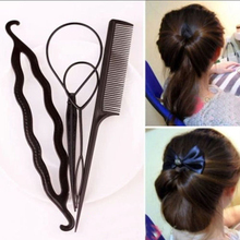 4pcs Ponytail Creator Plastic DIY Hair Styling Tools Black Hair Bands For Girls Hair Braid Accessories Bun Maker Girls Headbands(China)
