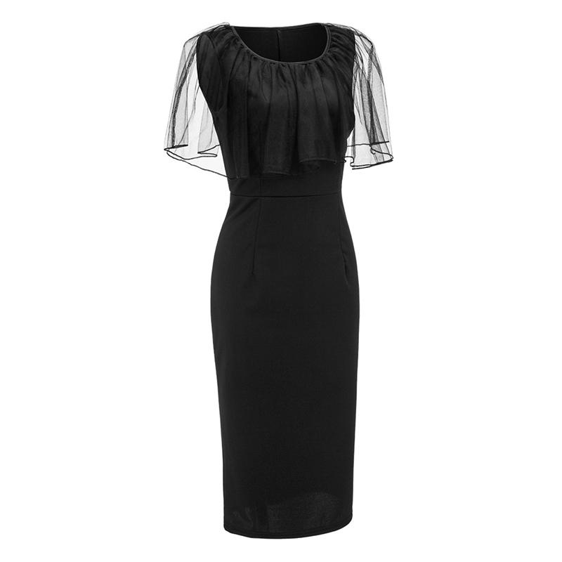 Adogirl Black Mesh Cape Bodycon Party Dresses Elegant Ladies Pencil Office Dress High Quality Cheap Work Wear Vestido De Festa 9