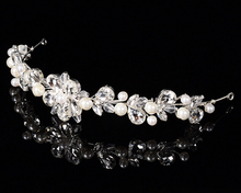 Elegant design bridal crown tiaras vintage pearl wedding brides headbands hairbands silver plated hair jewelry(China)