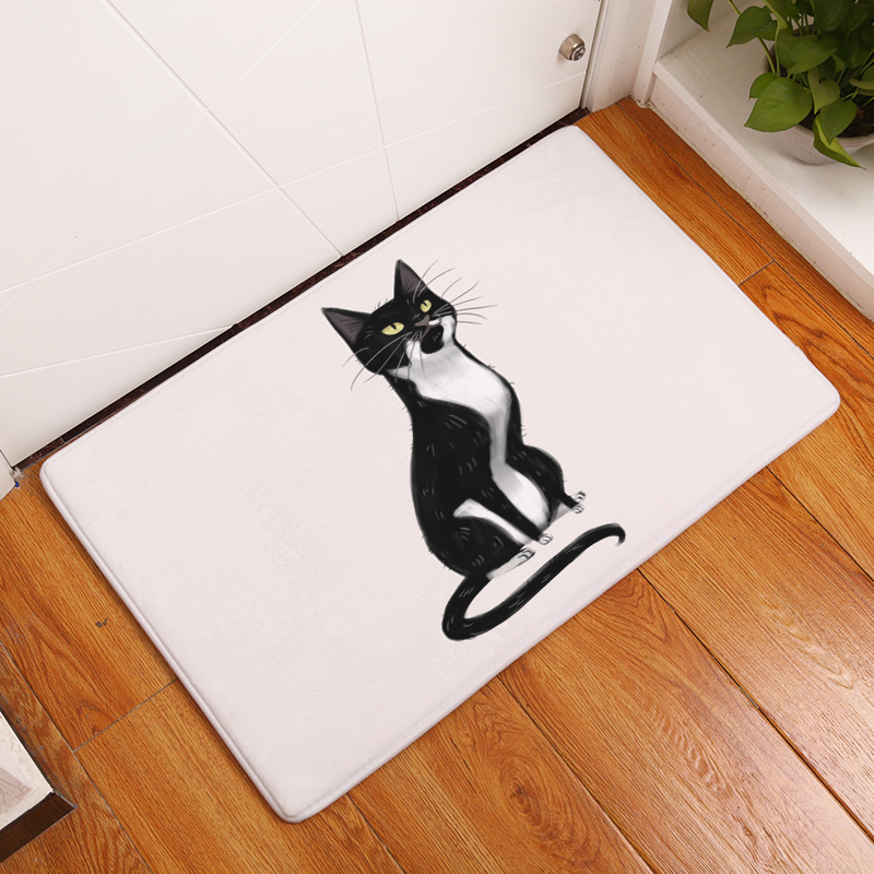 Cartoon Flannel Carpet Cats Printing Mat For Living Room 40x60cm 50X80cm  Door mat Rectangle Tapete - us138 01c034bfd3