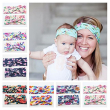 2Pcs/Set Mom and Me Boho Turban Headband Top Knotted Rabbit Ears Elastic Bowknot Matching Headband Newborn and Mommy Hair Band(China)