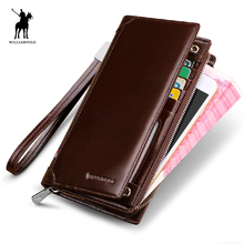 WILLIAMPOLO 2017 New Brand Male Clutch Vintage Leather Men Wallet Luxury Purse Leather Wallet Men Clutch Bag Phone POLO276(China)