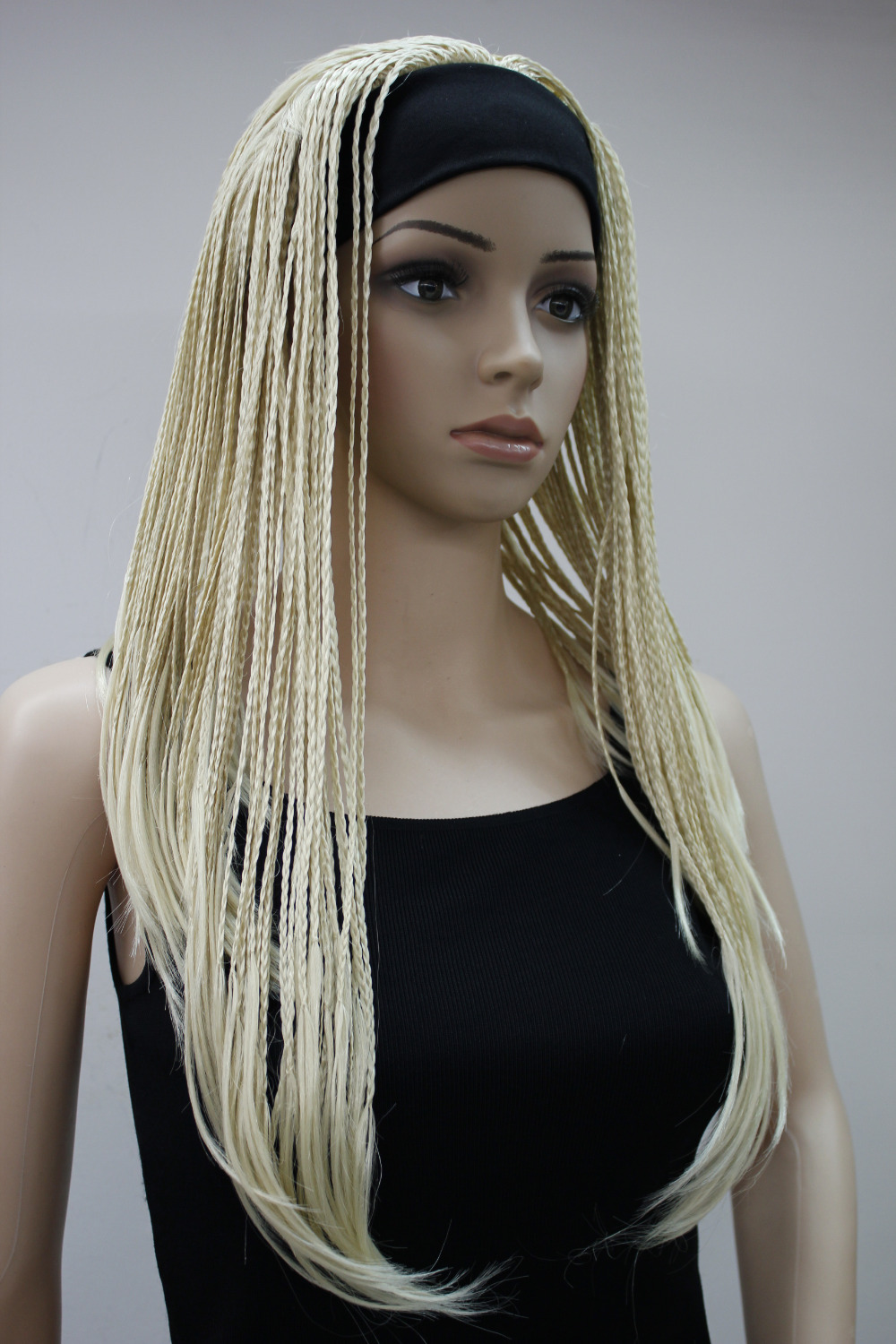 Free shipping! Blonde 3/4 wig with headbands straight long braid half wig<br><br>Aliexpress