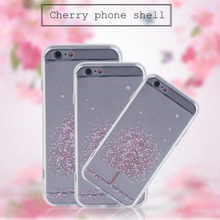 Charming Cherry Blossom Pattern Printed Silicone Phone Protective Case Cover Suitable For iPhone 5/5s/5se 6/6s 6plus/6splus(China)