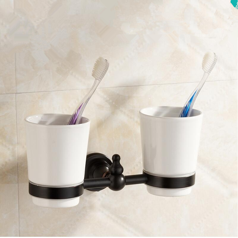 Bathroom Accessories, Modern Black Finish Brass Toothbrush Tumbler&Cup Holder,Classic Creative Design,wall mounted Bath Hardware(China (Mainland))