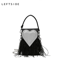 LEFTSIDE 2017 Women Handbag Designer Stylish Chain Crossbody PU Leather Handbags Ladies Hand Bags Red Heart Shoulder Bag