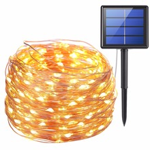 11 m 21 m LED Outdoor Solar Lampen 100/200 LEDs String Lights Fairy Holiday Christmas Party Garland Solar Tuin Waterdicht lichten(China)