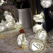Tronzo 20Pcs Artificial Flower Wedding Decoration Lights PE White Rose LED Light Romantic Valentine's Day Party Supplies