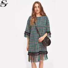 Sheinside Fringe And Tassel Trim Tweed Dress Fall Round Neck Half Sleeve Boho Shift Dress With Button 2017 Women's Casual Dress