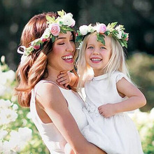 2PCs Fashion Cute Mommy & Kids Wreath Flowers Headband Floral Crown Hairbands Travel Wedding Girls Headwear Floral Hairbands Hot