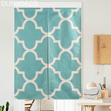 DUNXDECO Door Partition Curtain Kitchen Half Cortinas  Nordic Lake Blue Geometric Heavy Linen Look Fabric Rideau Store Decor
