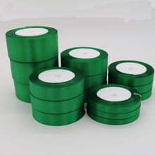 One Piece 25 Yards Bottle Green Silk Satin Ribbon For Wedding Party Decoration Gift Wrapping Apparel Accessories wholesales