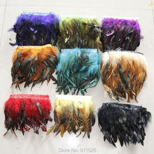 New Arrival! 2Yards/Lot Height 13-18cm HALF BRONZE COQUE ROOSTER TAIL FEATHERS Fringe Trimming 5Colours Available(China)
