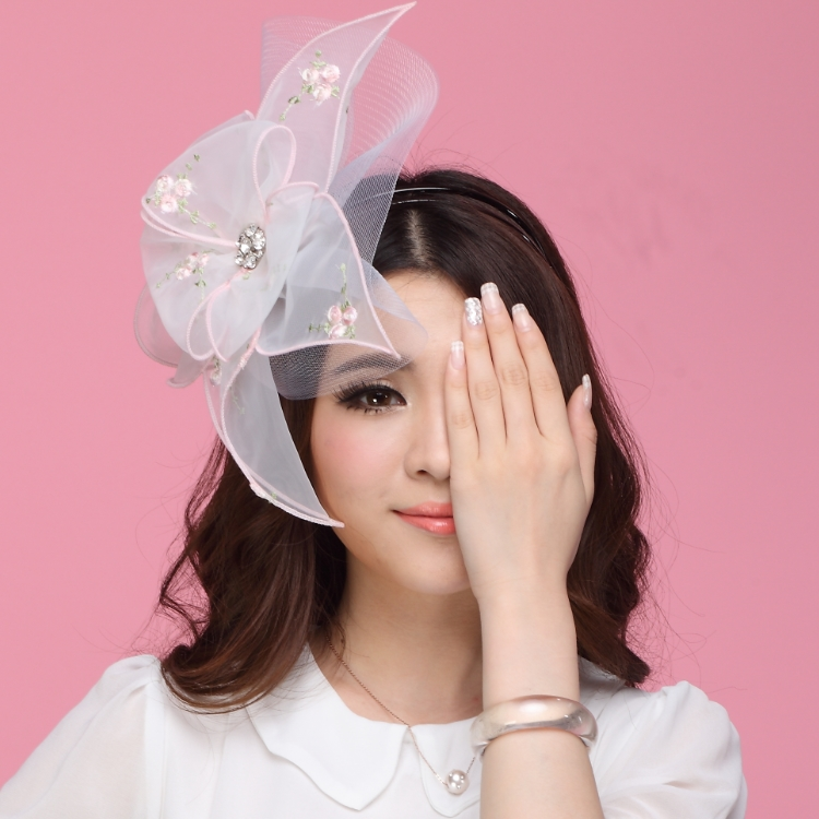 Free Shipping Women Fascinator Hats Hair Accessory Wedding Hair Accessories Hairdress White Flowers Hairbands Mesh Veilings<br>