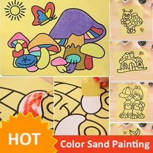 10pcs/lot Colored Sand Painting Drawing Toys Sand Art Kids Coloring DIY Crafts Learning Education Color Sand Art Painting Cards