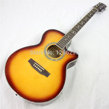 free shipping 40inch brown wood guitar 102cm Grade 20 basswood acoustic guitar(China)