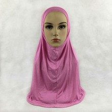 Wholesale Muslim Big Size Pull On Amira Hijab 2 Piece Solid Color Headscarf Slip On-Islamic Scarf Jilbab Fast Free Delivery(China)