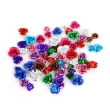 High Quality 100pcs Romantic Rose Flower Aluminum Beads Spacer Loose Beads Charm Pendant For Carft Making 6mm 8mm 12mm(China)