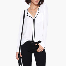 Summer Style Fashion Womens Casual White V Neck Long Sleeve Black Side Chiffon Blouse Shirt Work Wear Women Tops