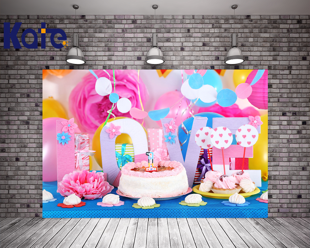 5X7FT Kate Newborn Happy Birthday Photography Backgrounds Flowers Cake Backdrops Children Backgrounds Photo Studio<br>