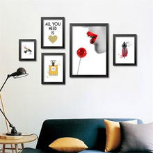 Modern fashion art perfume lipstick on canvas wall pictures for living room, beautiful canvas for girl room,home decor PD0448
