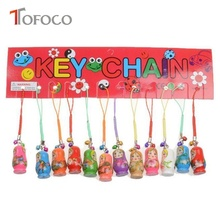 TOFOCO 10pcs Russian Dolls Toy In Sale Wholsesale Wooden Doll Keychain Phone Babushka Matryoshka Hand Painted(China)