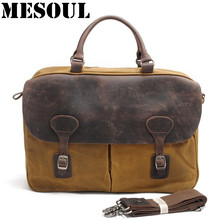 MESOUL Big Canvas Bag Men Shoulder Crossbody Bags Man Travel Messenger Bags Business Crazy horse Leather Laptop Handbag Men Bag