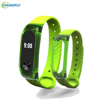 HANGRUI Crystal Plastic+Carbon Fiber silicon strap For xiaomi Mi band 2 Smart Wrist Bracelet Extended plus Strap Replacement