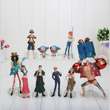 4-18cm One Piece 1set Anime One Piece Figures Dolls Toys 2 Years Later Large Doll Model set of 10(China)