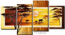 Modern Abstract Fashion Artwork Yellow Elephant Tree Oil Painting On Canvas 4 Panel Art Set Home Wall Decorative For Living Room