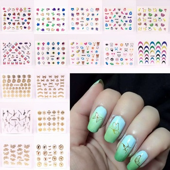 YZWLE 1 Sheet Fashion Cute Cubs 3D Nail Art Stickers Manicure Decals Decoration 24 Styles For Choose