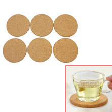 6pcs/Lot Round Wood Cork Coasters Heat Resistant Drink Coffee Tea Cup Mat Pad Home Kitchen Office Table Decor