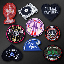 Music Fan Wave Patch Badge Embroidered Applique Sewing Iron On Clothes Stickers Garment Apparel Accessories DIY Sew On Badges(China)