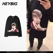 Kid photo printed Tee fun street Hip hop t-shirts Long sleeve 2017 f/w HEYBIG new arrivals Black t shirt crew neck cotton tops(China)