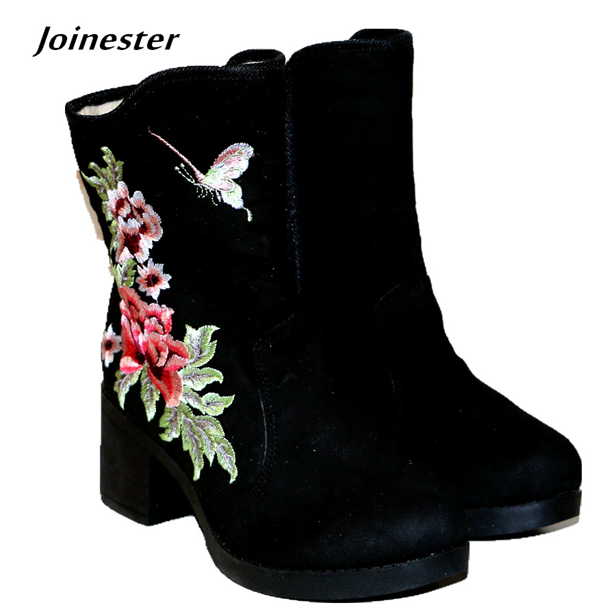 Ethnic Traditional Floral Embroidery Flock Ankle Boots Rubber Hoof Heels with Zipper Vintage Cotton Casual Fashion Winter Boots<br>
