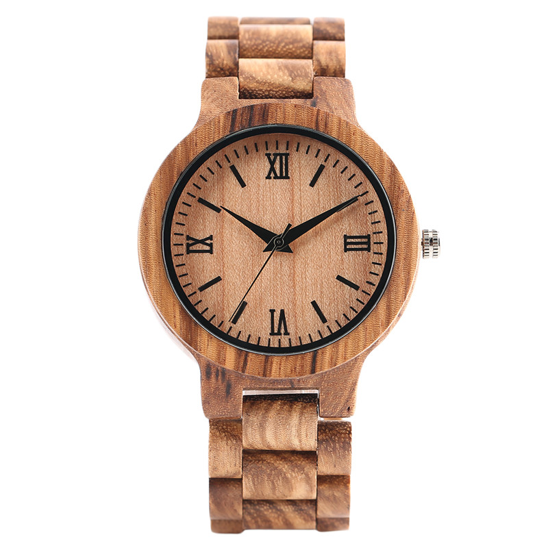 YISIYA Full Wooden Bamboo Watch Men Fold Clasp Bangle Creative Handmade Wood Wristwatch Male<br>