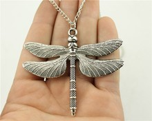 WYSIWYG  fashion antique silver tone 63*71mm big dragonfly pendant necklace, 70cm chain long necklace