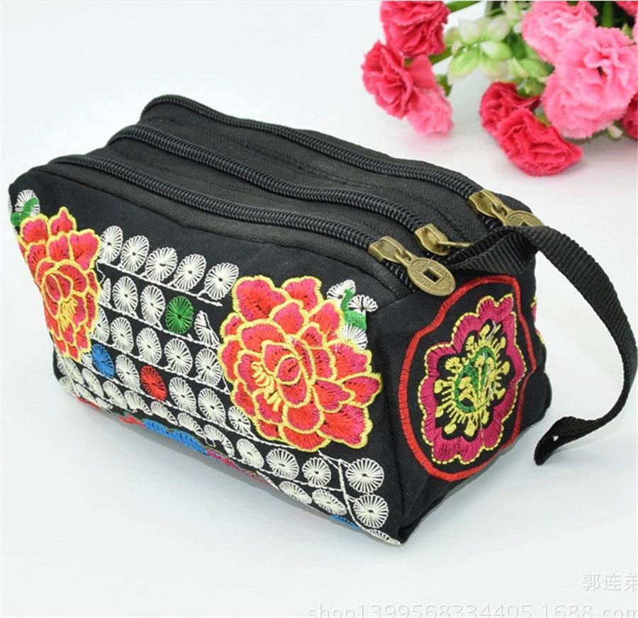 National Wind Embroidery Women Wallet 3 Zipper Women Clutch Wallet  Ladies Purse Phone Wallet Bag  Fashion China Elements Wallet<br><br>Aliexpress