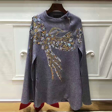 Newest Fashion Women Cashmere Cloak Coat Bird Pattern Beading And Sequins Shwal Loose Woolen Female Cape Bat Sleeves Wrap(China)