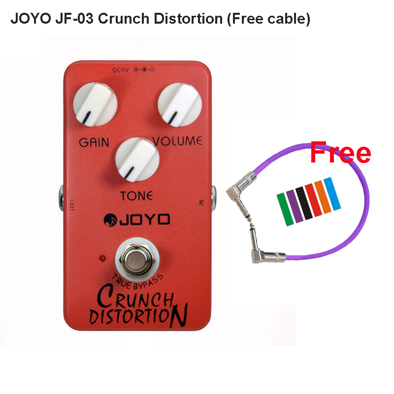 JOYO JF-03 Crunch Distortion Effective Pedal for Electric Guitar British Classic Rock Full-Stack Gain Settings and Tone + cable<br>