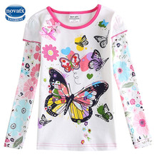 Girls t-shirts clothes children shirts tees butterfly embroidery casual nova kids roblox cotton long sleeve bobo choses tops F59