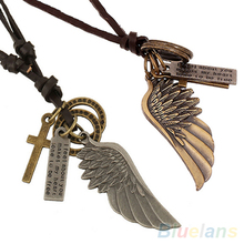 Antique Vintage Angel Wing Mens Leather Necklace Charms Pendants 1P5D