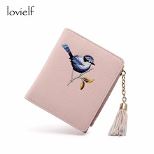 lovielf NEW Chinese Women Girl Lady Classy Cute Pink Fashion Simple Embroidery lovely Bird Tassel Short Money Case Wallet Purse(China)