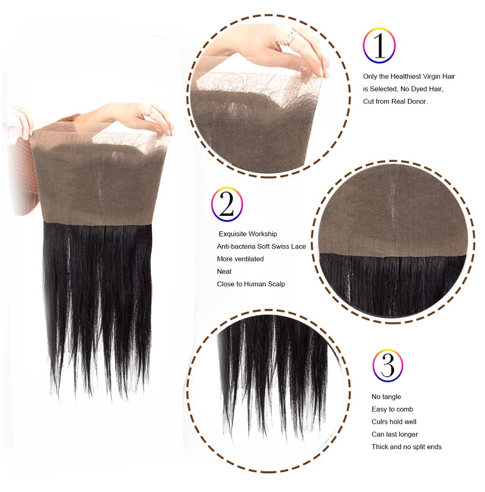 Lace frontal 360 lace frontal lace frontal with bundles lace frontal with baby hair lace frontal suppliers Originea 360 Lace Frontal With 2Bundles Peruvian Straight Hair Weft Human Hair With 360 Frontal Closure With Baby Hair