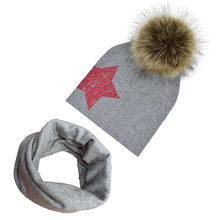 Cute Cotton Baby Hat Scarf Faux Raccoon Fur Ball Boy Girl Cap Toddler Kids Winter Spring Star Printed Detachable Pompom Hats(China)