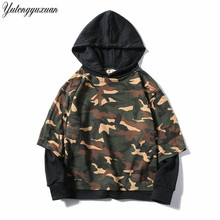 2017 Winter Army Green Camouflage Hoodies Mens Camo Fleece Jackets Hooded Sweatshirts Hip Hop Swag Cotton Streetwear Clothing(China)
