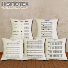 Cushion Cover 43X43cm Ode to Joy Music Sheet Pillow Cases New Year Festival Gift Bedroom Sofa Linen Christmas Decoration(China)