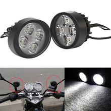Pair 4 LED Motorcycle Headlight Headlamp Motorcycle Head Light Diving Fog Spot Light 15W 6000K Cafe Racer For Suzuki Harley Bike
